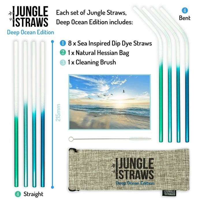 Jungle Culture Steel Straws Stainless steel straw sets - Ocean inspired with information on side