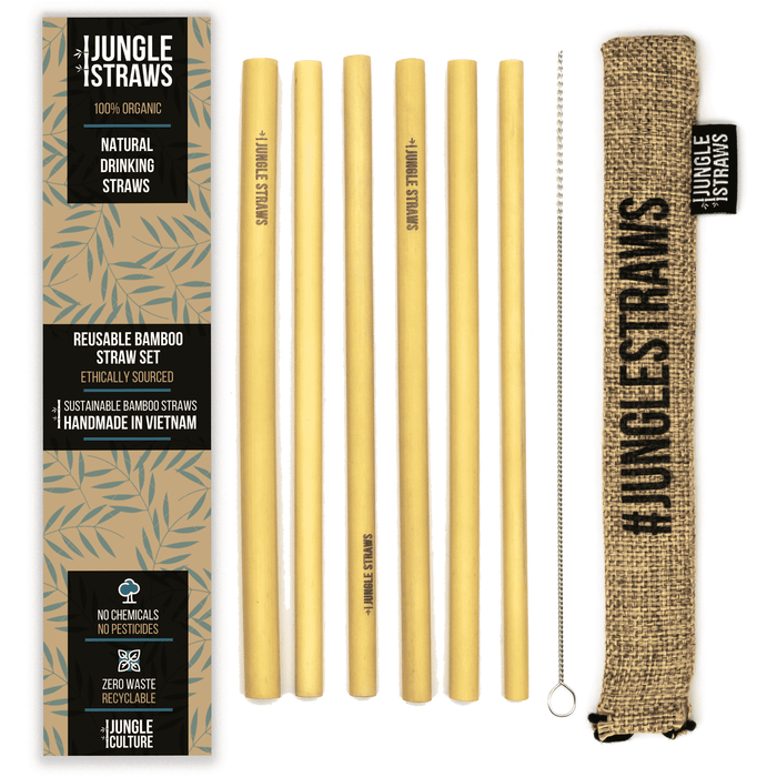 Jungle Culture Straws 6 Reusable Bamboo Drinking Straws brown lined up