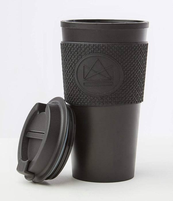 Neon Kactus Coffee Cup Double Walled Coffee Cups - Black Travel Mug lid off