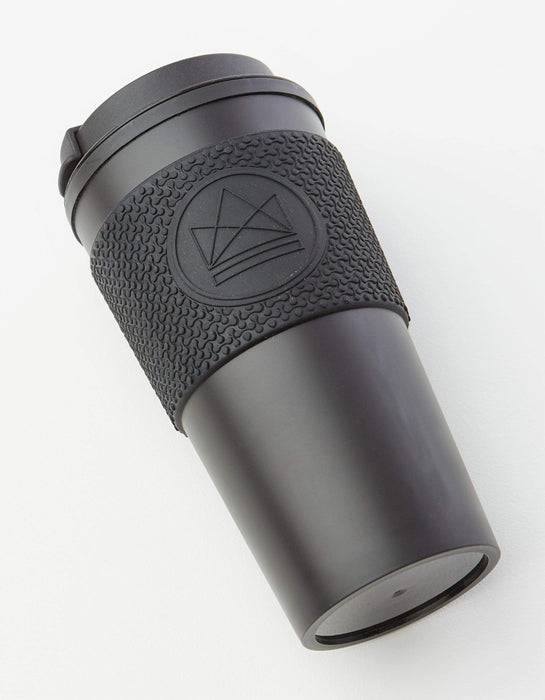 Neon Kactus Coffee Cup Double Walled Coffee Cups - Black Travel Mug top view of laid down