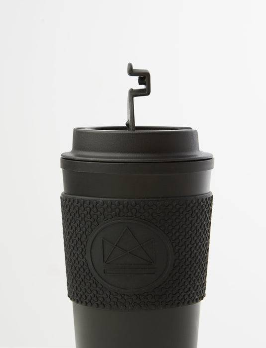 Neon Kactus Coffee Cup Double Walled Coffee Cups - Black Travel Mug side view