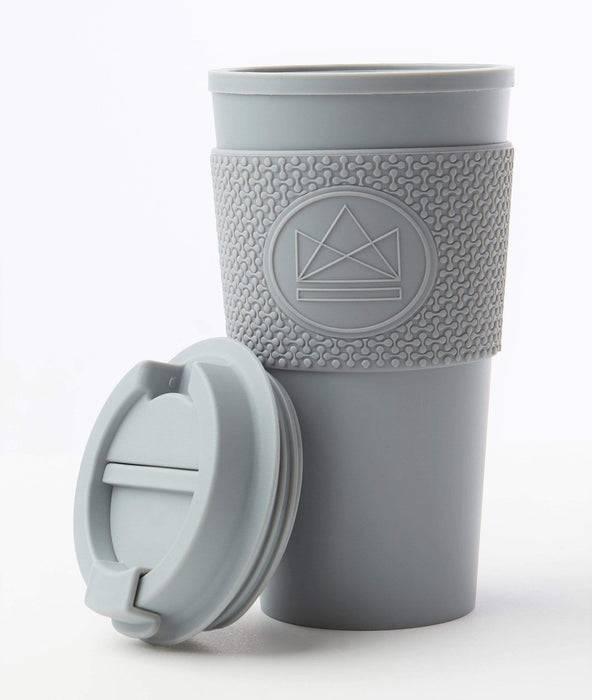 Neon Kactus Coffee Cup Double Walled Coffee Cups - Grey Travel Mug lid off