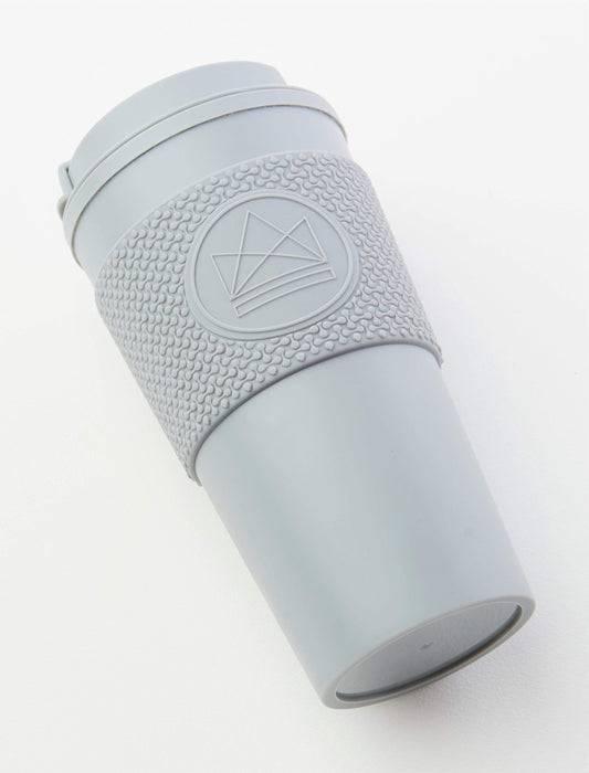 Neon Kactus Coffee Cup Double Walled Coffee Cups - Grey Travel Mug laid down
