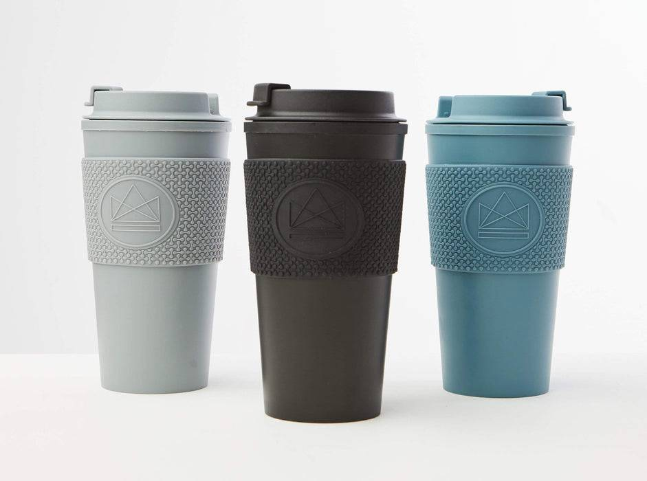 Neon Kactus Coffee Cup Double Walled Coffee Cups - Grey Travel Mug lined up