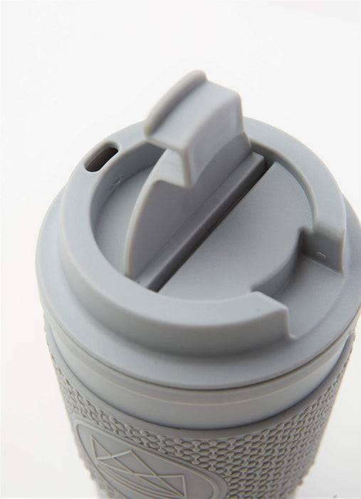 Neon Kactus Coffee Cup Double Walled Coffee Cups - Grey Travel Mug view of lid