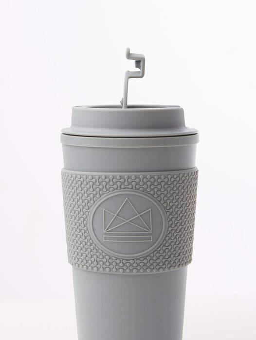 Neon Kactus Coffee Cup Double Walled Coffee Cups - Grey Travel Mug side view of lid