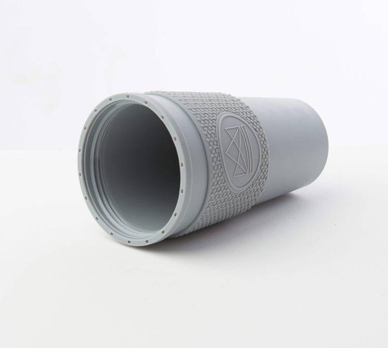 Neon Kactus Coffee Cup Double Walled Coffee Cups - Grey Travel Mug laid down without lid
