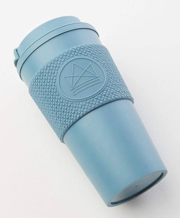 Neon Kactus Coffee Cup Double Walled Coffee Cups - Pastel Blue Travel Mug laid down
