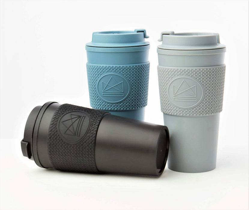 Neon Kactus Coffee Cup Double Walled Coffee Cups - Pastel Blue Travel Mug multiple colours black laid down