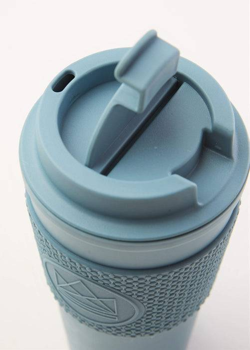 Neon Kactus Coffee Cup Double Walled Coffee Cups - Pastel Blue Travel Mug top down of lid
