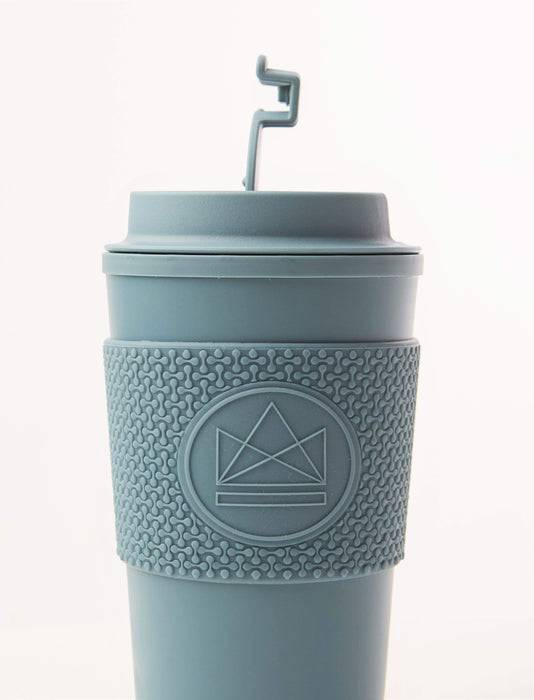 Neon Kactus Coffee Cup Double Walled Coffee Cups - Pastel Blue Travel Mug side view