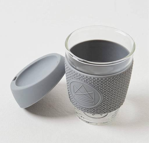 Neon Kactus Coffee Cup Glass Coffee Cups - 12oz Grey Coffee Cup lid off
