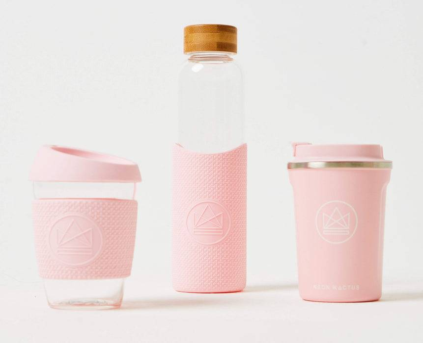 Neon Kactus Coffee Cup Glass Coffee Cups - 12oz Pink Coffee Cup variants lined up