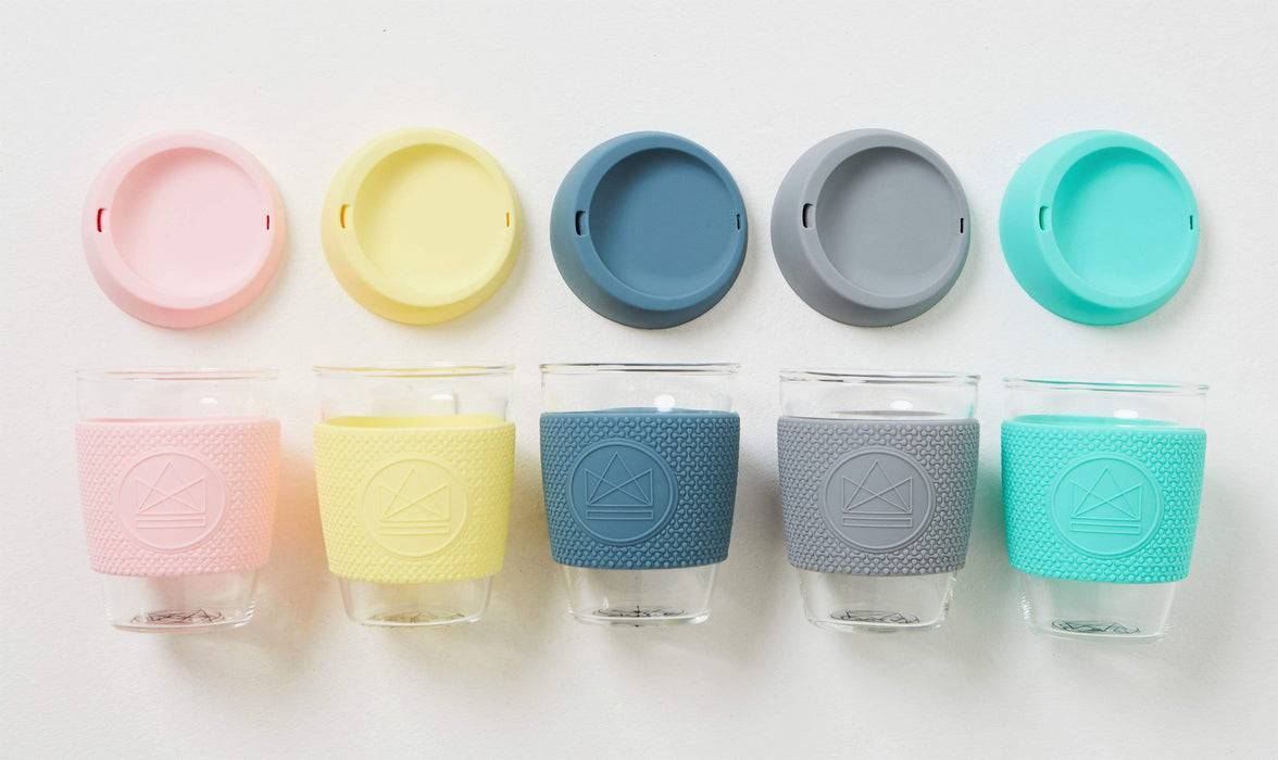 Neon Kactus Coffee Cup Glass Coffee Cups - Pastel Blue 16oz Coffee Cup multiple colours lined up with lids off