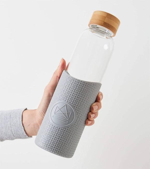 Neon Kactus Coffee Cup Glass Water Bottle - Grey - 16oz Water Bottle being held