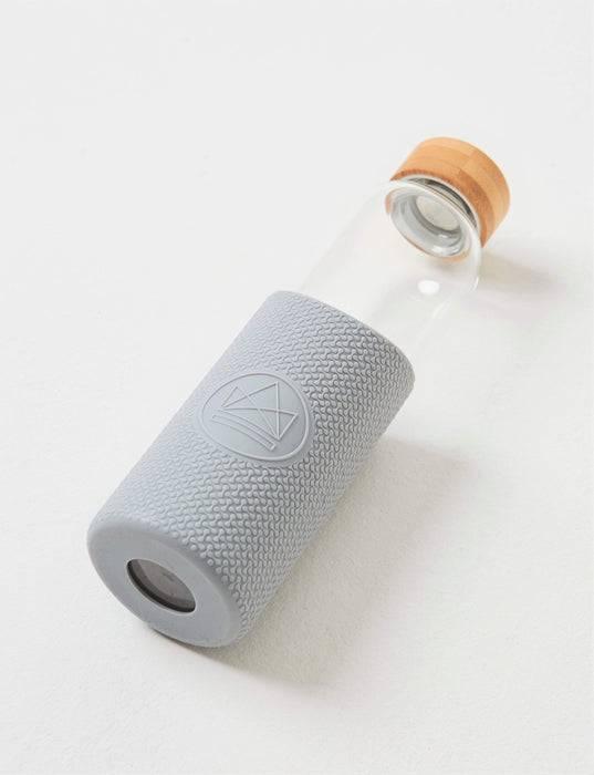 Neon Kactus Coffee Cup Glass Water Bottle - Grey - 16oz Water Bottle laid down
