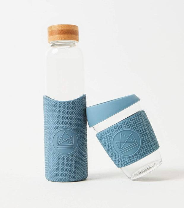 Neon Kactus Coffee Cup Glass Water Bottle - Pastel Blue - 16oz Water Bottle with smaller cup leaning against it