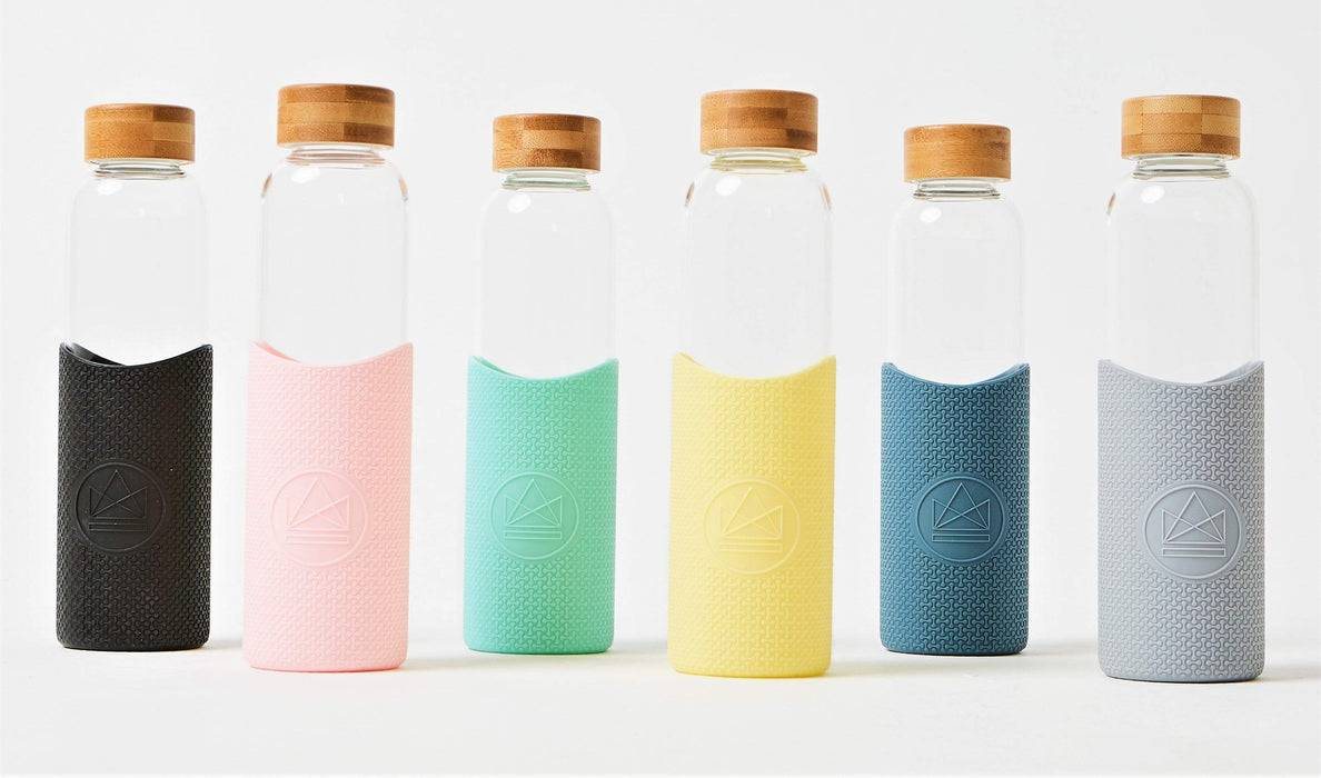 Neon Kactus Coffee Cup Glass Water Bottle - Pastel Blue - 16oz Water Bottle multi-coloured ones lined up
