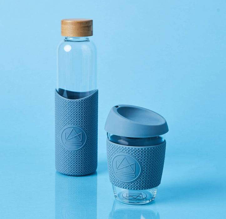 Neon Kactus Coffee Cup Glass Water Bottle - Pastel Blue - 16oz Water Bottle blue background