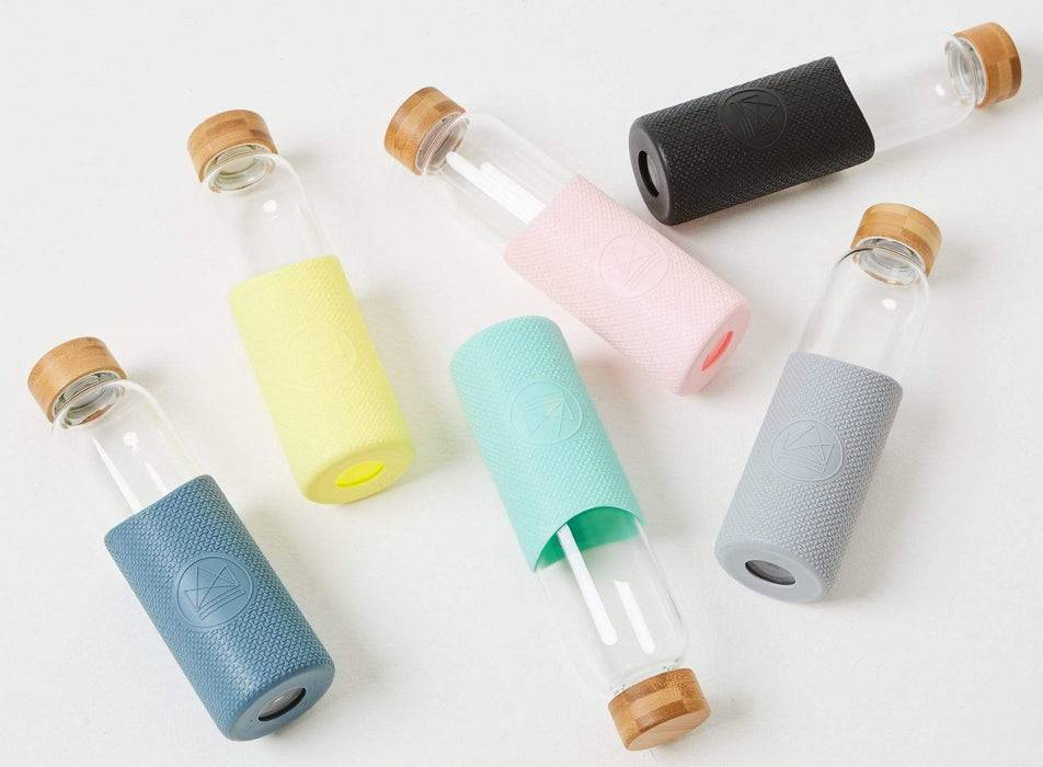 Neon Kactus Coffee Cup Glass Water Bottle - Pastel Blue - 16oz Water Bottle  scattered about on ground