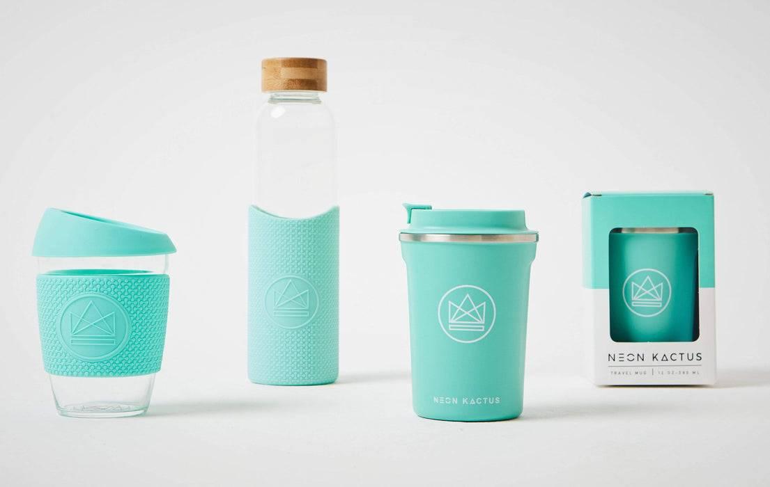 Neon Kactus Coffee Cup Glass Water Bottle - Turquoise - 16oz Water Bottle and other turquoise designs