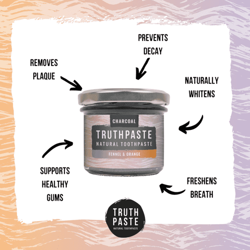Truthpaste Toothpaste Natural Toothpaste Charcoal Orange & Fennel 120G - Truthpaste with information on sides