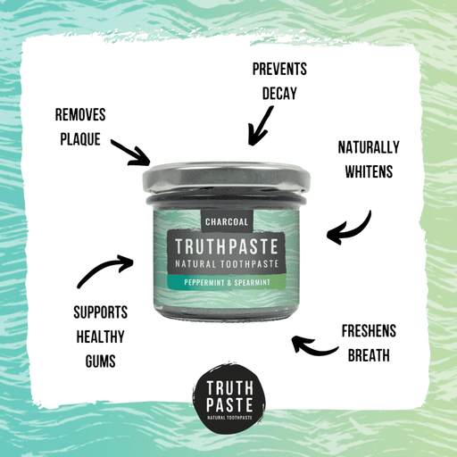 Truthpaste Toothpaste Natural Toothpaste Charcoal Peppermint & Spearmint 120G - Truthpaste with information at sides