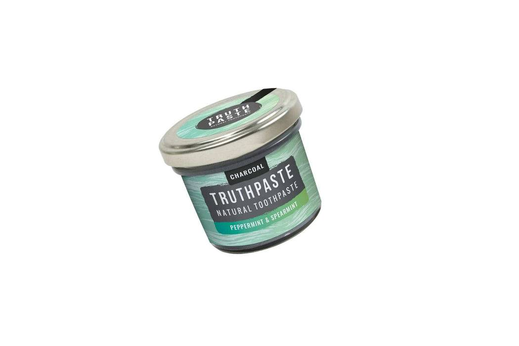 Truthpaste Toothpaste Natural Toothpaste Charcoal Peppermint & Spearmint 120G - Truthpaste far shot white background