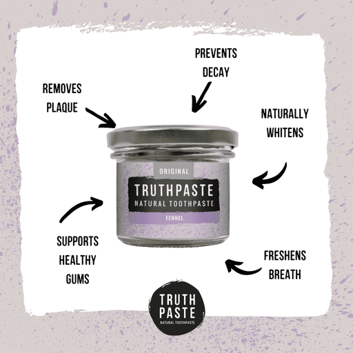 Truthpaste Toothpaste Natural Toothpaste Original Fennel 120G - Truthpaste with information about it on sides