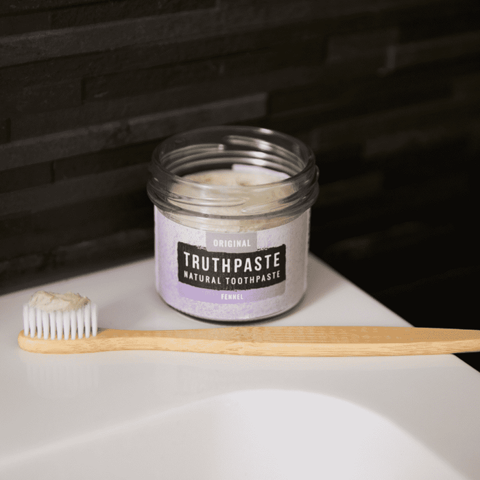 Truthpaste Toothpaste Natural Toothpaste Original Fennel 120G - Truthpaste on sink with bamboo toothbrush