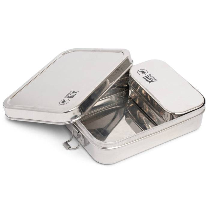 Two in One Lunchbox - Stainless Steel - Elephant Box