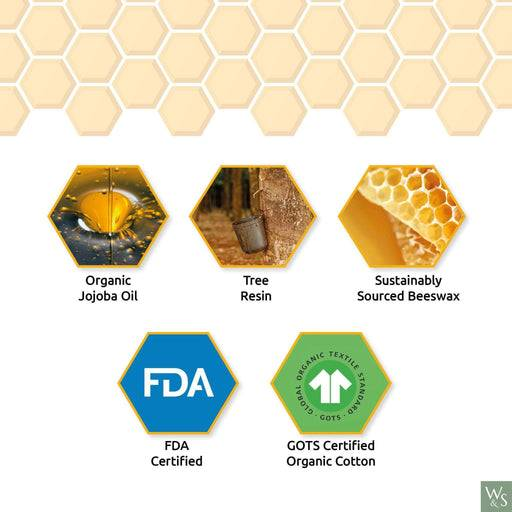 Wild & Stone Food Wraps Beeswax Food Wraps - HoneyComb Pattern with information on side