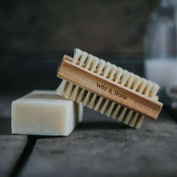 Wild & Stone Nail Brush Nail Brush - Natural Bristle on top of soap