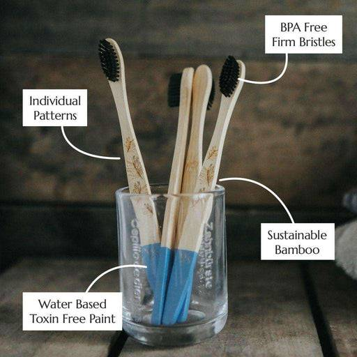 Wild & Stone Toothbrush Adults Bamboo Toothbrush - Firm Bristles - 4 Pack in jar