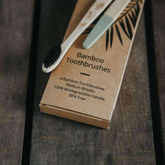 Wild & Stone Toothbrush Adults Bamboo Toothbrush - Medium Bristles - 4 Pack on packaging