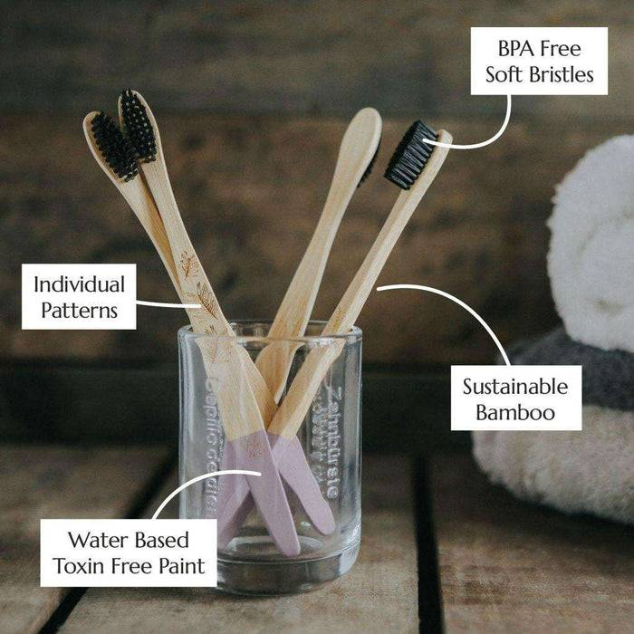 Wild & Stone Toothbrush Adults Bamboo Toothbrush - Soft Bristles - 4 Pack in jar with information