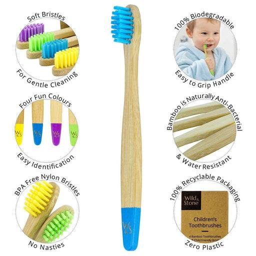 Wild & Stone Toothbrush Children's Bamboo Toothbrush - Soft Bristles - Multi Colours with information around it