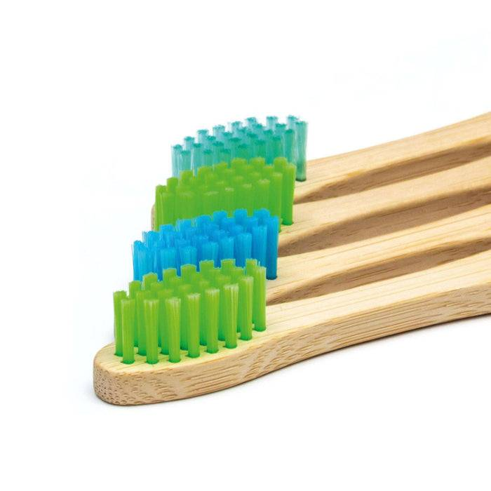 Wild & Stone Toothbrush Soft Bristles Bamboo Toothbrush - Children's - Aqua WS4-TTH-CHLD-BOY heads lined out
