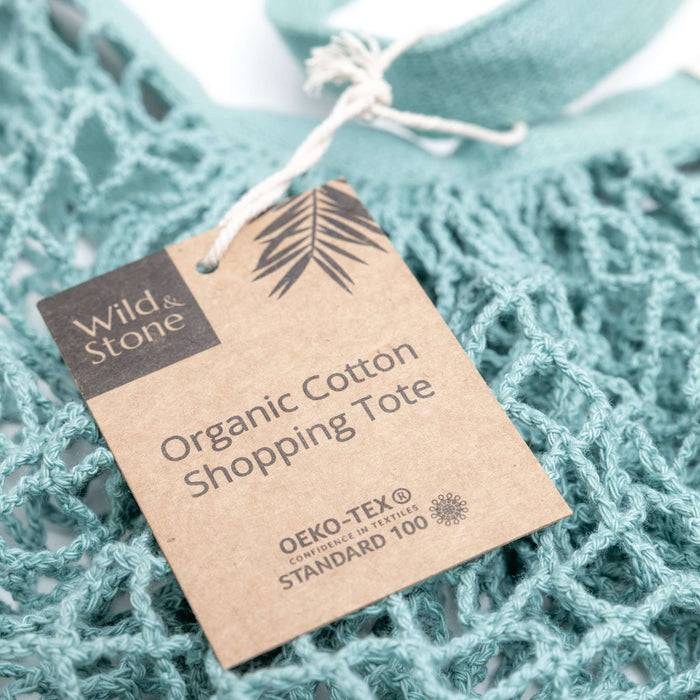 Wild & Stone Tote Bag Organic Cotton Tote Bag - Blue Crochet close up on tag