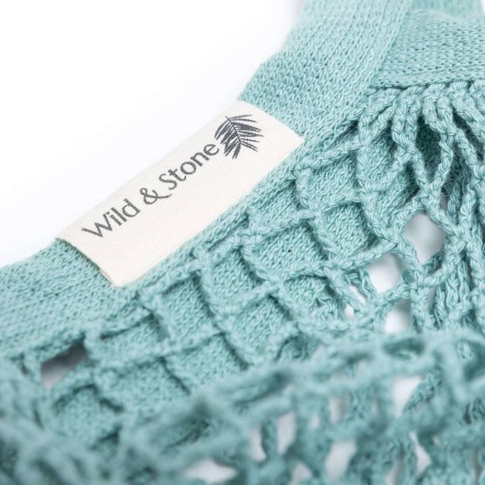 Wild & Stone Tote Bag Organic Cotton Tote Bag - Blue Crochet close up on label