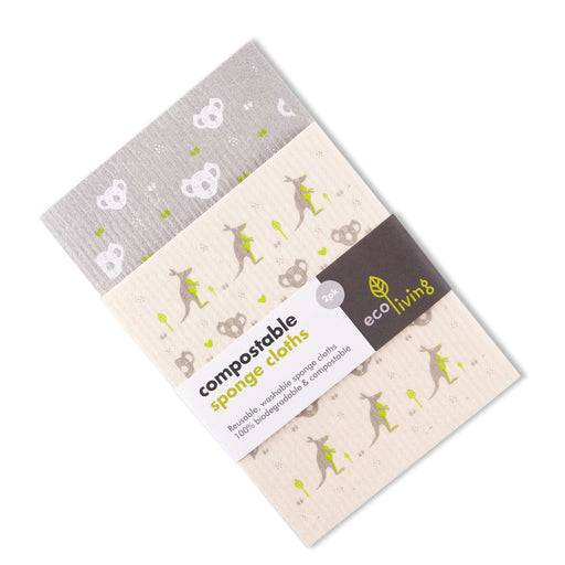 Cleaning Cloth Kangaroo and Koala Cleaning Cloths - Biodegradable Sponge on top of each other