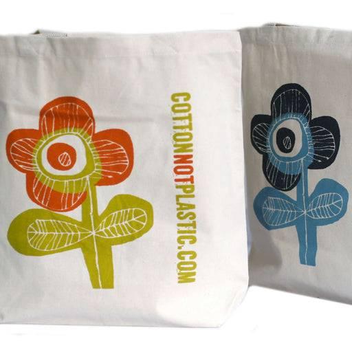 Zero Zen Eco bags Eco Cotton Bags - Bright Flower close up on design