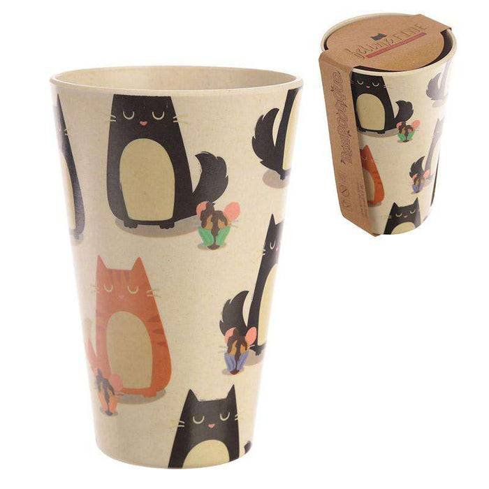 Zero Zen Reusable Bamboo Composite Cup - Feline Fine Cat BAMB18 with and without label
