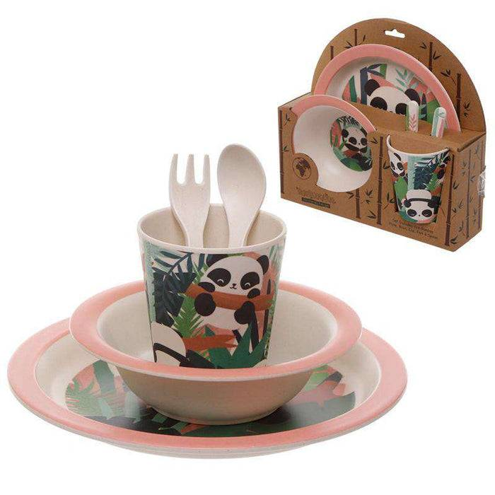 Zero Zen Reusable Bamboo Composite Kids Meal Set - Pandarama BAMB48 with and without packaging