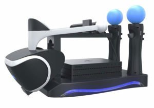 VR Headset and controllers attached to Sony Playstion Dock