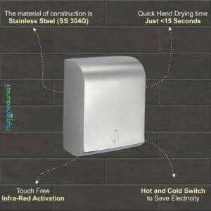 S.S Hand Dryer Hot Cold 1350 W OSSOM SHD07