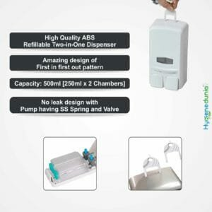 Dual soap dispenser for bathrooms and dishwashing liquids in the kitchen.