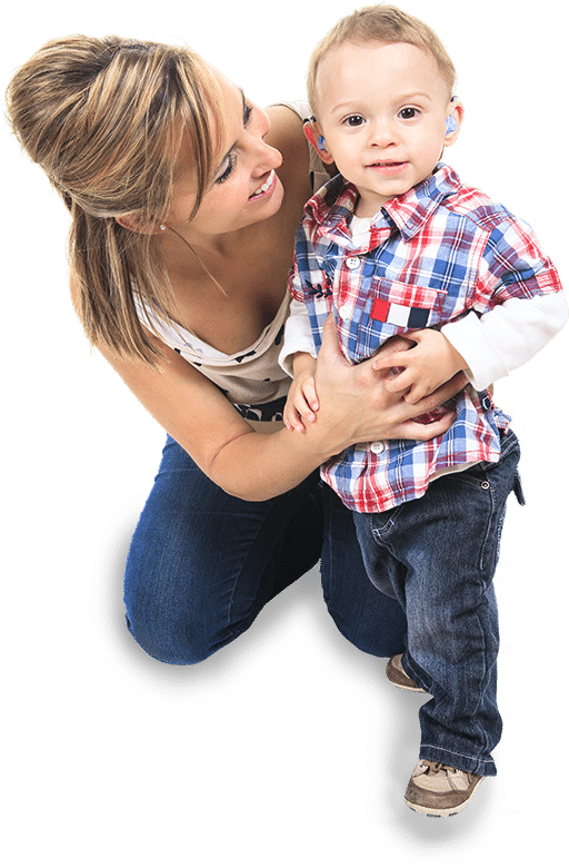 Child and mother wearing hearing aid